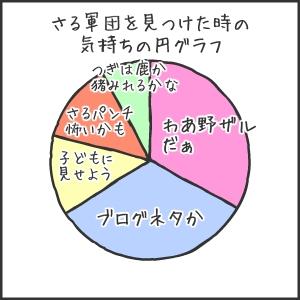 さる軍団を見つけたときの気持ちの円グラフ