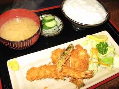 海老とアジのフライ定食