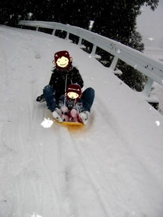 雪ぞりで滑る