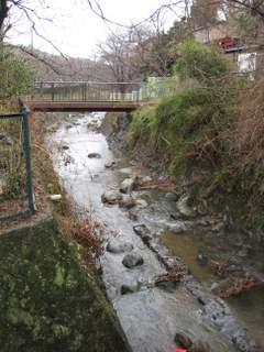 お店の前の川