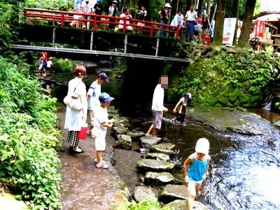 白川水源で水遊び