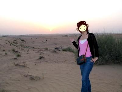 砂漠で記念フォト