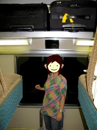 B寝台の上段、荷物を置く場所